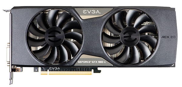 The EVGA GeForce GTX 980 Ti Superclocked ACX 2.0+ sports the ACX 2.0+ custom cooler with features like a memory MOSFET cooling plate and straight heatpipes for better cooling. (Image Source: EVGA)
