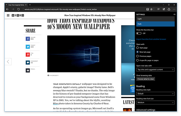 The Edge browser is gaining several new features in this build, including a dark theme. (Image source: Microsoft.)