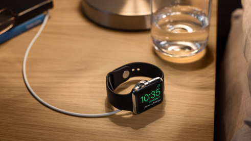 Placing the Apple Watch on its side now turns it into a bona fide alarm clock. <br>Image source: Apple.