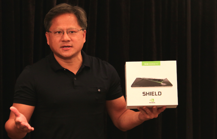 NVIDIA CEO Jen-Hsun Huang with the new SHIELD Android TV.