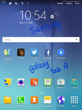 "In this example, we wrote ""Samsung Galaxy Tab A"" on the screenshot."