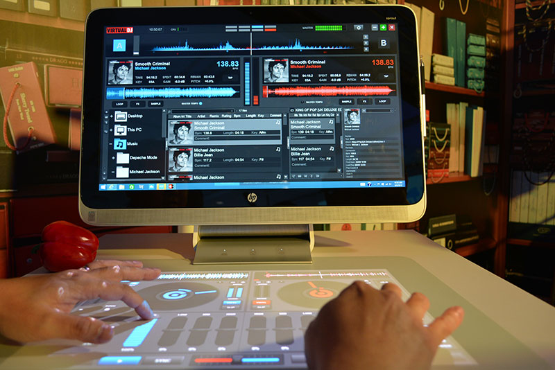 The Sprout supports apps like Virtual DJ, which projects virtual turntables onto the Touch Mat for a go at mixing your own tunes.