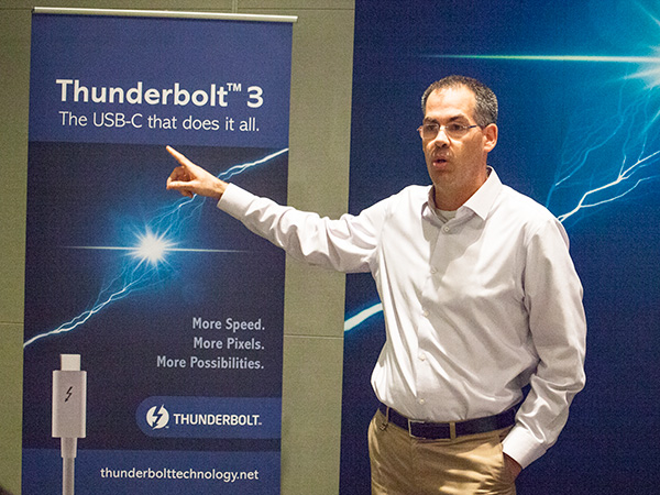 Shahaf Kieselstein, VP and General Manager for Client Computing Group, talked about the new Thunderbolt 3 standard and how it'll be the USB-C port that does it all.