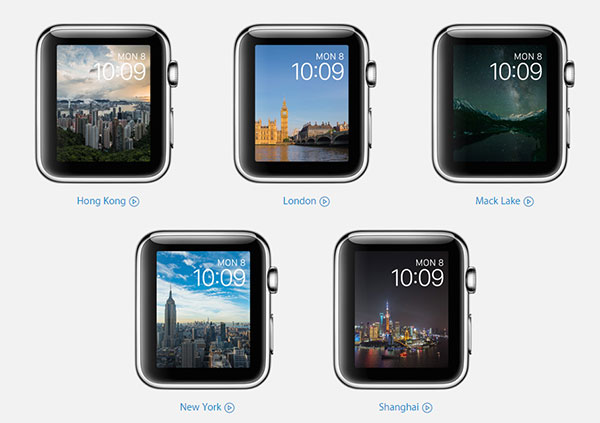 Time Lapse lets you customize your watch face with time lapse videos shot over 24 hours from iconic locations around the world. <br>Image source: Apple.
