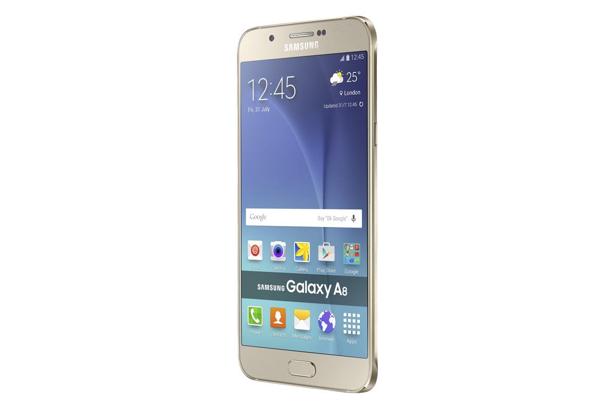 A golden Samsung Galaxy A8 4G+
