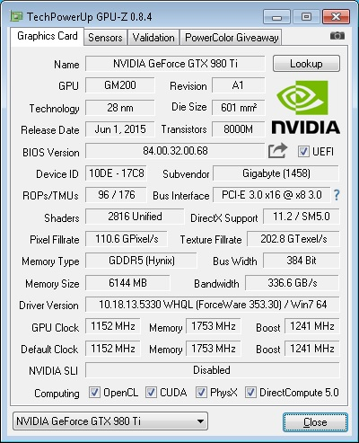 A quick look at the card's specifications.