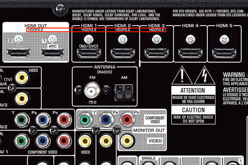 Because HDCP 2.2 is very new and often used as a selling point, manufacturers would usually indicate which connections on their devices support it. If you don't see the markings, check the specs sheet to verify. Shown here is the back panel of the new Yamaha RX-V779 receiver.