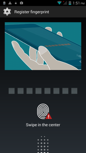To setup the fingerprint sensor, you need to swipe 8 times to register it.