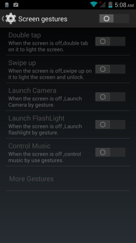 "If you enable screen gestures, you can use several gestures such as drawing a ""C"" to launch the camera or 'V"" to activate the flashlight."