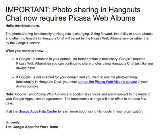 Google has been telling Hangouts administrators to enable support for Picasa Web Albums as part of the move.