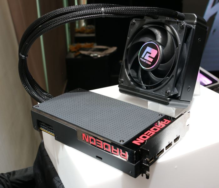 The Radeon R9 Fury X is already available at all authorized reseller. Regardless of the manufacturer, the card will only be available in AMD's reference cooling solution. This particular unit was supplied by Power Color.