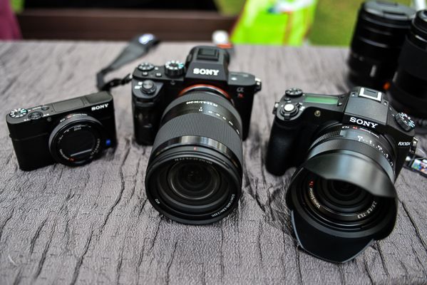 From L-R: The Sony Cyber-shot RX100-IV, the Alpha 7R II and the Cyber-shot RX10 II.