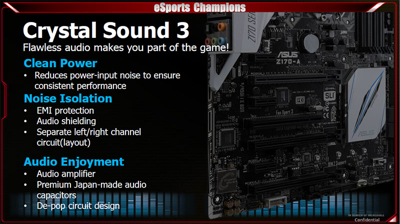Crystal Sound 3 provides clean power, shielded circuits to reduce digital noise, and premium audio components. (Image Source: ASUS)