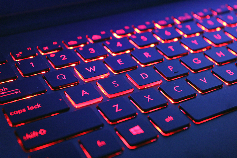 """The """"WASD"""" keys are specially highlighted with bolder red accents. The red back lights are sadly non-customizable."""