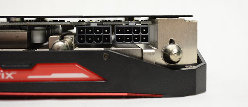 The ASUS Strix Radeon R9 Fury is powered by two 8-pin PCIe connectors.