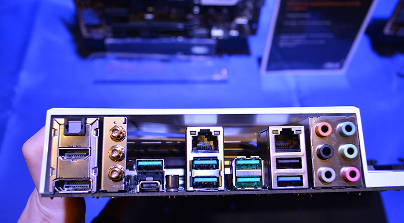 A look at the rear I/O ports on the ASUS Z170 Deluxe.