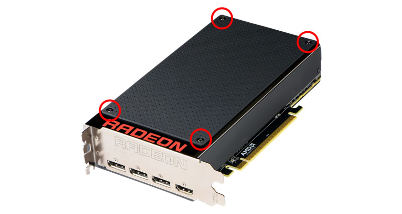 The frontplate can be removed after unscrewing the four hex screws. Users can even 3D print their own frontplate to customize their card. (Image Source: AMD)