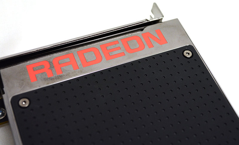 The Fury X's aluminium black casing is complemented by nickel-plated chrome with the Radeon logo.