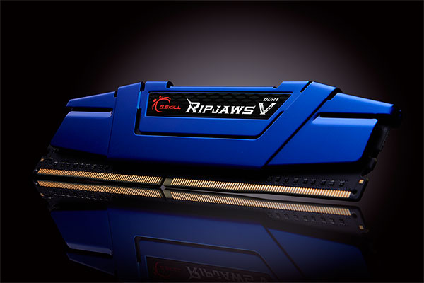 The Ripjaws V memory modules are available in five colors. Shown here is the Steel Blue variant. (Image Source: G.Skill)