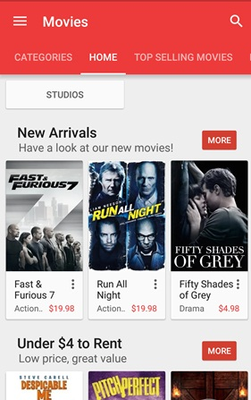 Google Play Movies available in Singapore, rent from S$3 98