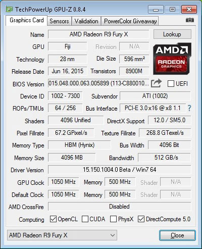 Here's a quick look at the card's specifications.