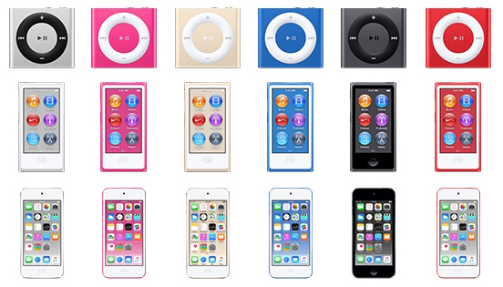 MacRumors also managed to dig up images of the new iPod Touch, Shuffle and Nano being decked in three new colors; Gold, Electric Blue, and Fuschia. <br> Image source: MacRumors