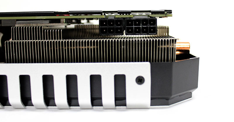 The Palit GeForce GTX 980 Ti Super JetStream uses one 6-pin and one 8-pin PCIe power connector, the same as the reference card.