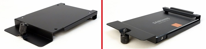 On the left, we have the 2.5-inch drive bracket. After turning it around, we slide in our 2.5-inch SSD and secure the drive with four mounting screws.  On the right is our finished product.