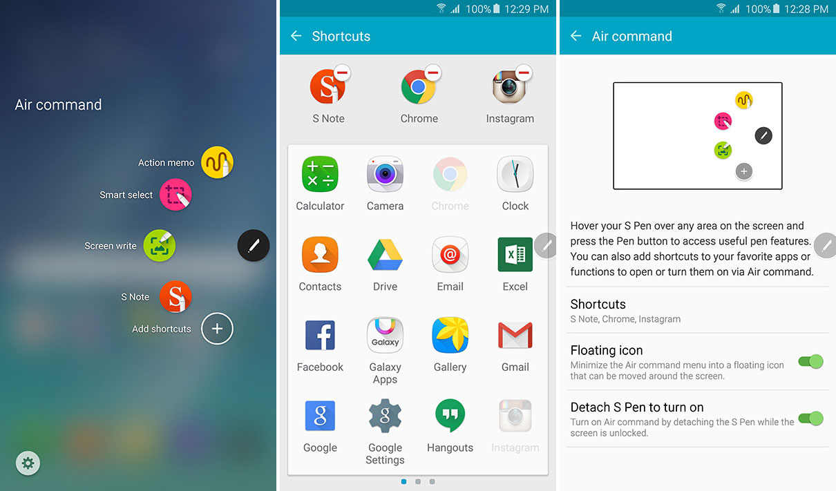 The ability to put app shortcuts in the Air Command menu is another new, time-saving feature on the Note 5.