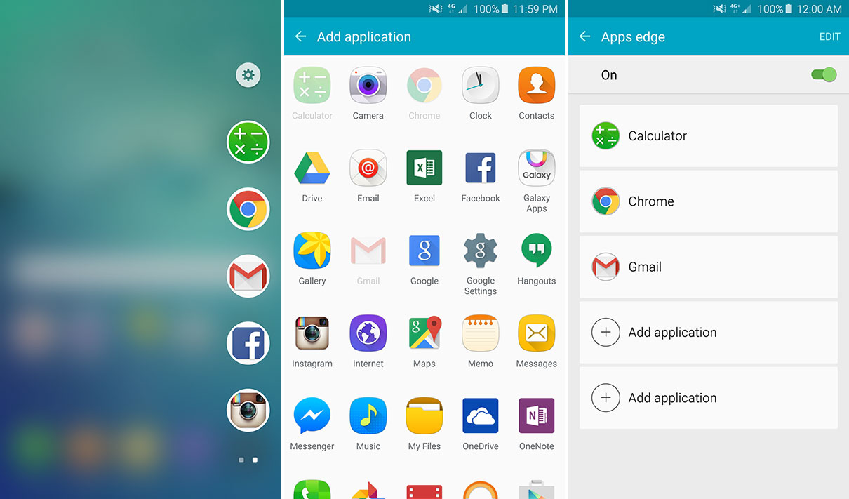 There's no Air Command menu on the S6 Edge+ to put your app shortcuts, but the Apps Edge does the same thing.
