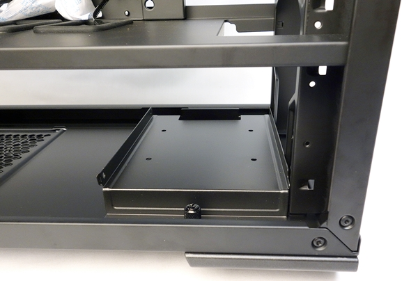 There's a removable drive tray, which is located near the front of the chassis.