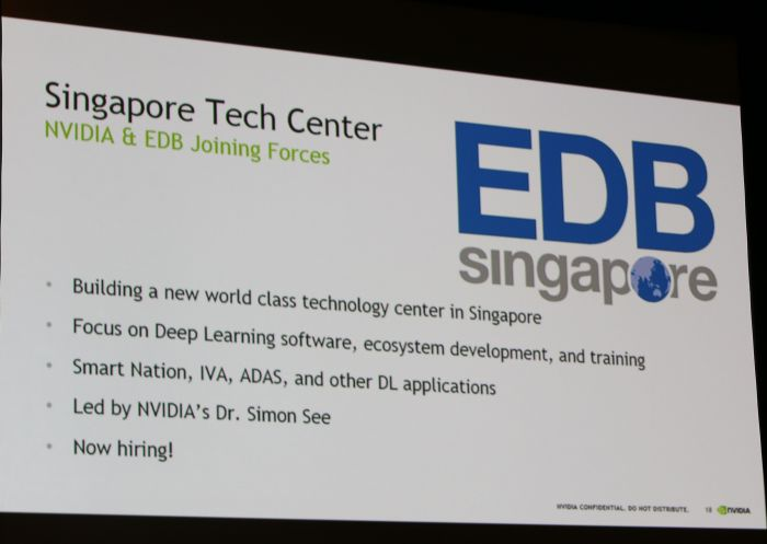 NVIDIA will be opening its first technology center in Singapore, along with Singaporean-based company, EDB Singapore.