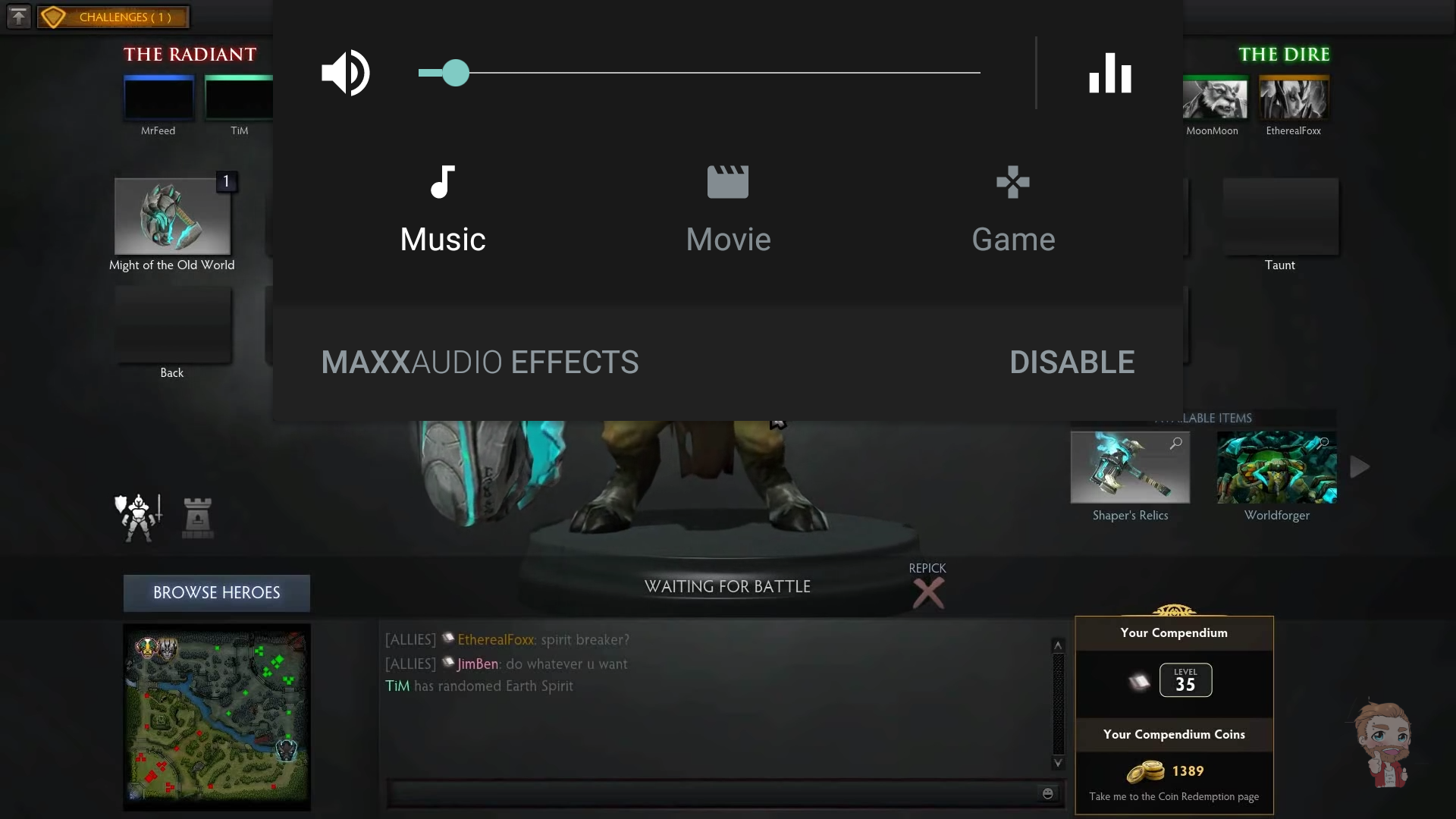 Waves MaxxAudio enhancement is easy to access - simply press the volume button during a video,song, or game to bring up the menu.