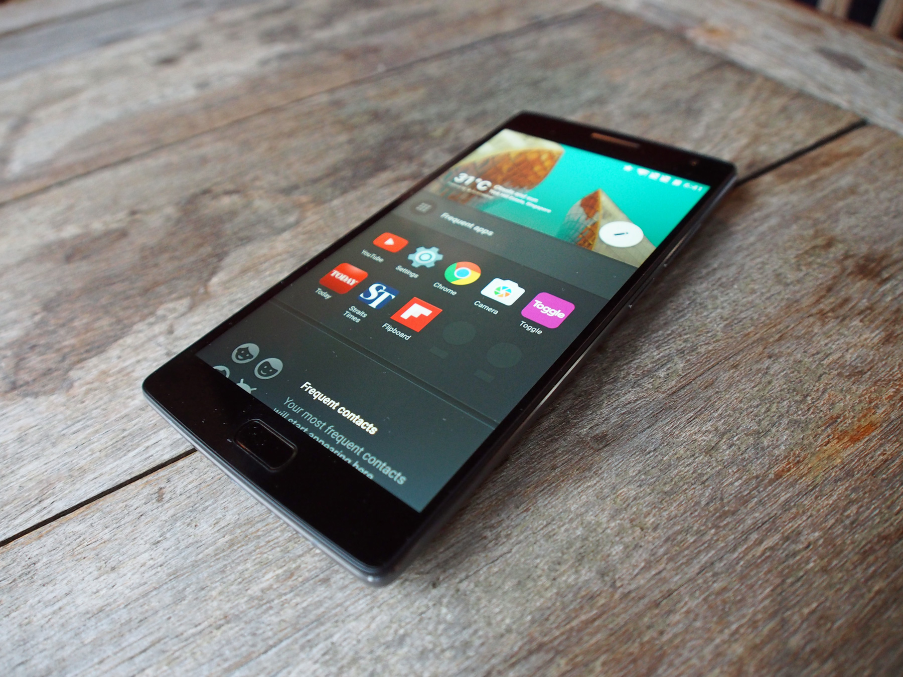 The OnePlus 2's front view.