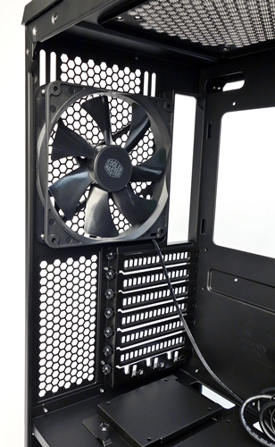 The rear outlet fan can be repositioned. This is in the event when cooling fans or a radiator is mounted at the op.