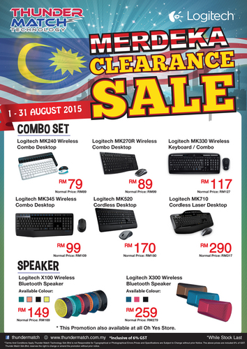 Logitech is just one of the many brands taking part in Thunder Match Technology's Merdeka Clearance Sale.