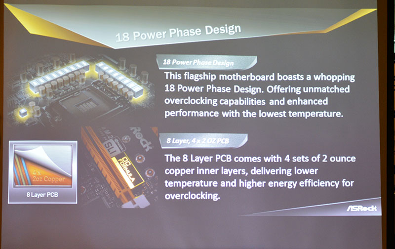 The Z170 OC Formula uses an 18-phase power design and an eight-layer PCB for higher and more stable overclocks.