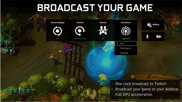 The Broadcast button lets you stream video directly to Twitch. (Image Source: NVIDIA)