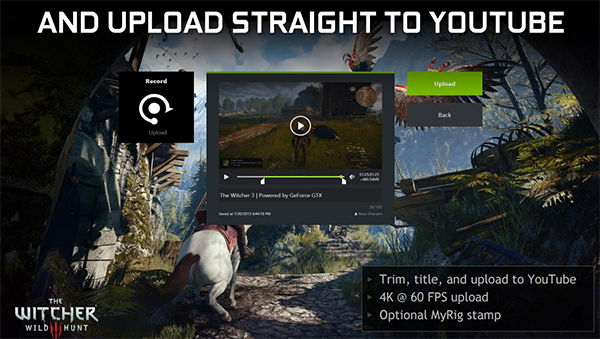 You can upload gameplay footage straight to YouTube without exiting the game. (Image Source: NVIDIA)