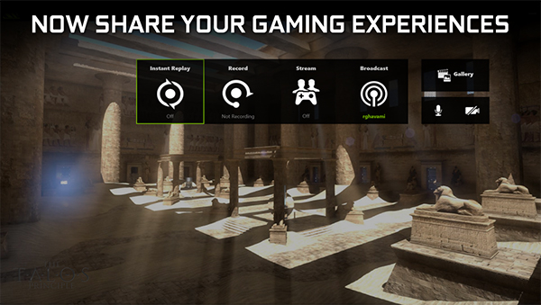 The new in-game overlay adds dedicated buttons for capturing in-game footage and streaming. (Image Source: NVIDIA)