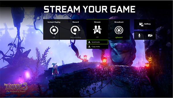 The Stream button allows you to experience the game more collaboratively with a friend. (Image Source: NVIDIA)