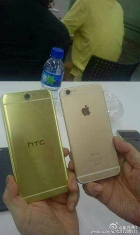 An alleged image of the HTC One A9 taken alongside the Apple iPhone 6.