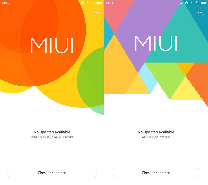 The Global Stable ROM on the left, starting with the number '6' for 'MIUI 6.' The Global Beta ROM on the right, starting with the number '5' for the year '2015'.