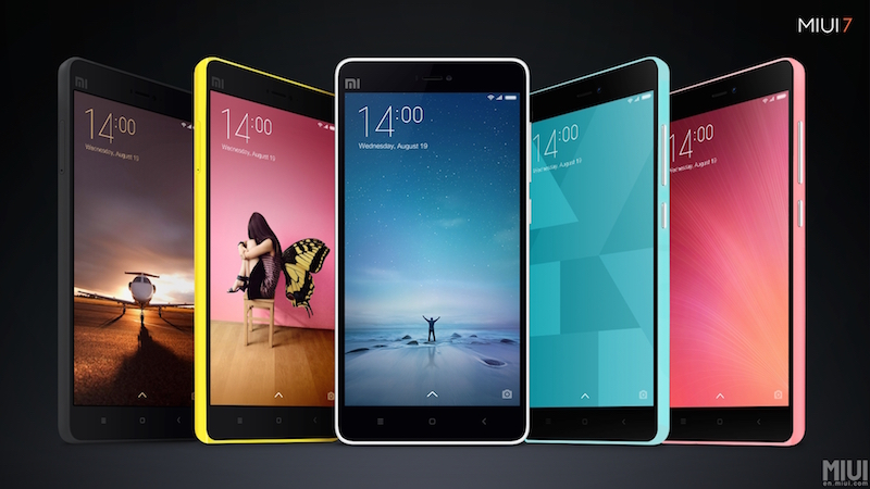 The four new system UIs are on the left and right. Only available in India right now. Image source: Xiaomi.