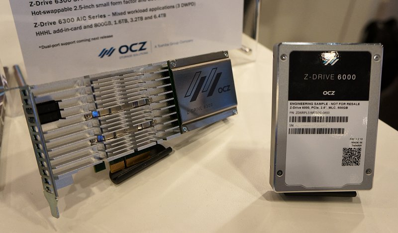Left: OCZ Z-Drive 6300 in an add-in card form factor. Right: OCZ Z-Drive 6000 hot-swappable 2.5-inch small form factor drive is only available in this form.