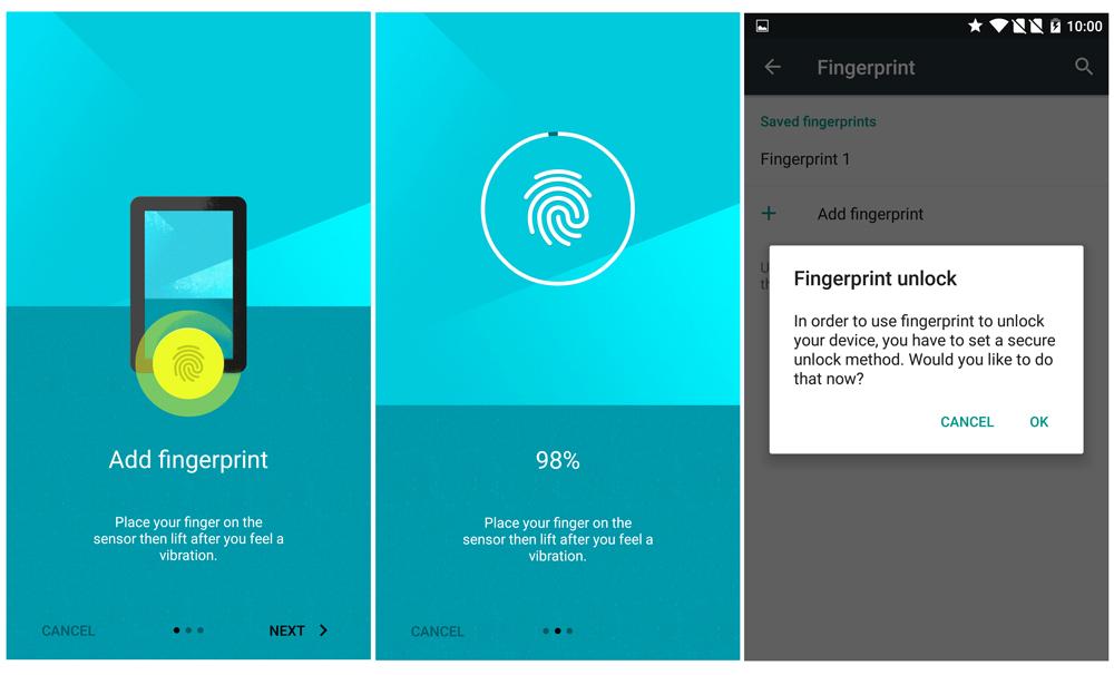 Setting up the OnePlus 2's fingerprint sensor.