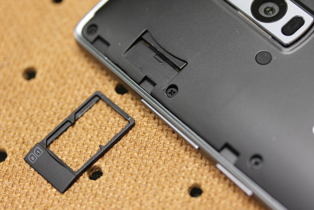 Two 4G LTE nano-SIM slots in one tray, but no microSD card functionality.
