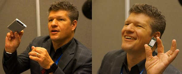 Bill Liszenske, Intel's VP of Strategic Planning/Marketing for NVM Solutions, shared some finer details in a media roundtable session, some of which are still under NDA. In the stitched photo, Bill is emphasizing that Intel Optane technology will be available in common interfaces and form factors like U.2 (left) and M.2 (right). Cost and adoption are important factors driving this decision.