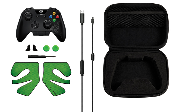 A look at the accessories that come with the Razer Wildcat. A carrying case is also included alongside the palm grip and analog stick caps. (Image Source: Razer)