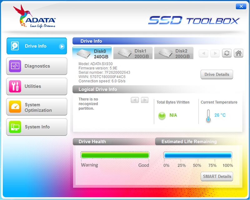 The ADATA SSD Toolbox makes it easy to update the drive's firmware and also check on its health status.